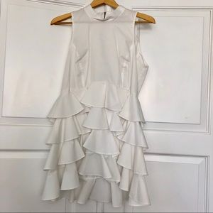 W by Worth white cascading ruffle bottom blouse.